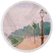 The Banks Of The Seine At Neuilly 1886 Round Beach Towel