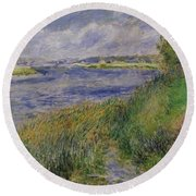 The Banks Of The Seine Champrosay Round Beach Towel