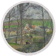 The Banks Of The Viosne At Osny In Grey Weather, Winter Round Beach Towel