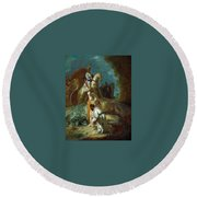 The Baptism Of The Eunuch After Rembrandt Harmenszoon Van Rijn Round Beach Towel