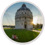 The Baptistery, Piazza Dei Miracoli Round Beach Towel