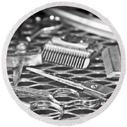 The Barber Shop 10 Bw Round Beach Towel by Angelina Vick