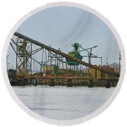 The Barge Waits At Aberdeen Round Beach Towel