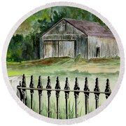 The Barn At Parsonsfield Maine Round Beach Towel