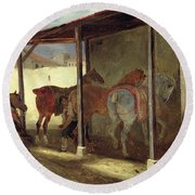 The Barn Of Marechal-ferrant Round Beach Towel