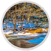 The Basin At Franconia Notch Round Beach Towel