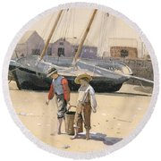 The Basket Of Clams Round Beach Towel