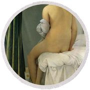 The Bather Round Beach Towel by Jean Auguste Dominique Ingres