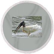 The Bathing Wood Stork 2 Round Beach Towel