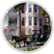 The Battery In Charleston Round Beach Towel