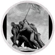 The Battle For Iwo Jima By Todd Krasovetz Round Beach Towel