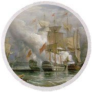 The Battle Of Cape St Vincent Round Beach Towel by Richard Bridges Beechey