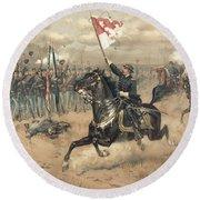 The Battle Of Cedar Creek Virginia Round Beach Towel by Thure de Thulstrup