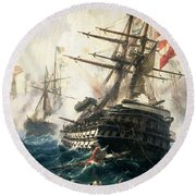 The Battle Of Lissa Round Beach Towel by Constantin Volonakis