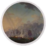The Battle Of Louisbourg On The 21st July 1781 Round Beach Towel