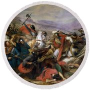The Battle Of Poitiers Round Beach Towel by Charles Auguste Steuben