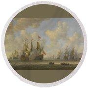 The Battle Of Scheveningen Round Beach Towel