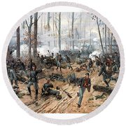 The Battle Of Shiloh Round Beach Towel