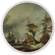 The Battle Of Texel Round Beach Towel by Louis Eugene Gabriel Isabey