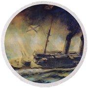 The Battle Of The Gulf Of Riga Round Beach Towel by Mikhail Mikhailovich Semyonov