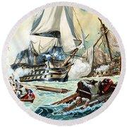 The Battle Of Trafalgar Round Beach Towel by English School