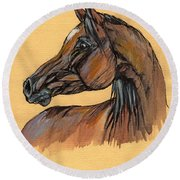 The Bay Arabian Horse 10 Round Beach Towel