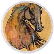 The Bay Arabian Horse 9 Round Beach Towel