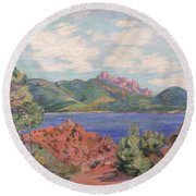 The Bay Of Agay Round Beach Towel