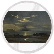 The Bay Of Naples By Moonlight With The Castel Dell'ovo Beyond Round Beach Towel