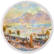 The Bay Of Naples With Vesuvius In The Background Round Beach Towel