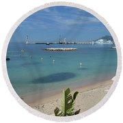 The Beach At Cannes Round Beach Towel