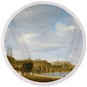 The Beach At Egmond An Zee Round Beach Towel by Salomon van Ruysdael