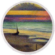 The Beach At Heist Round Beach Towel by Georges Lemmen