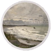 The Beach At Sainte Adresse Round Beach Towel by Claude Monet