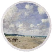 The Beach At Tourgeville Round Beach Towel by Eugene Louis Boudin