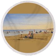 The Beach At Trouville Round Beach Towel