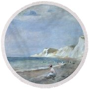 The Beach At Varangeville Round Beach Towel by Renoir