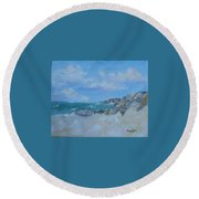 The Beached Boat Round Beach Towel