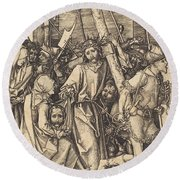 The Bearing Of The Cross With Saint Veronica Round Beach Towel