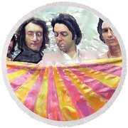 The Beatles. Watercolor Round Beach Towel