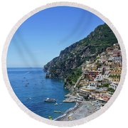 The Beautiful And Famous Amalfi Coast Round Beach Towel