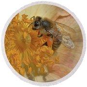 The Beautiful Bee Round Beach Towel