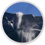 The Beautiful Bridalveil Falls Of Yosemite Round Beach Towel