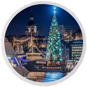The Beautiful, Freshly Renovated Katarina Church And The Gigantic Christmas Tree In Stockholm Round Beach Towel
