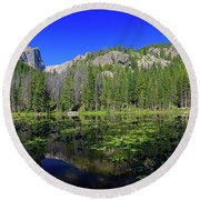 The Beautiful Nymph Lake With Reflection And Clear Water Round Beach Towel