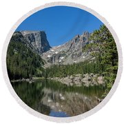 The Beautiful The Louch Lake With Reflection And Clear Water Round Beach Towel