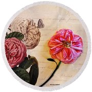 The Beauty Of A Dried Rose Round Beach Towel