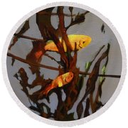 The Beauty Of Goldfish Round Beach Towel