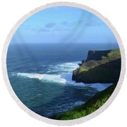 The Beauty Of Ireland's Cliff's Of Moher And Galway Bay  Round Beach Towel