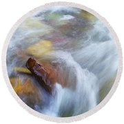 The Beauty Of Silky Water Round Beach Towel